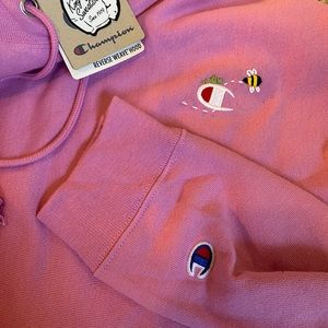 NWT champion oversized hoodie with hand embroidery